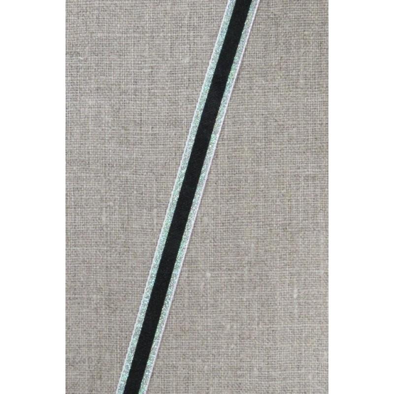 Stribet bånd med lurex, sort- grøn/sølv 10 mm.