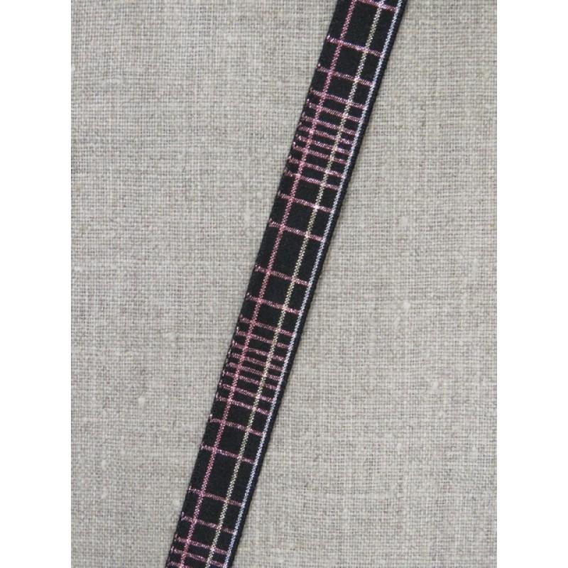 Ternet bånd i sort med lurex i sølv- rosa/kobber- sølv 15 mm.