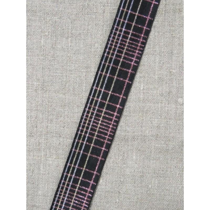 Ternet bånd i sort med lurex i sølv- rosa/kobber- sølv 25 mm.