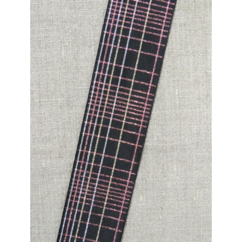 Ternet bånd i sort med lurex i sølv- rosa/kobber- sølv 40 mm.
