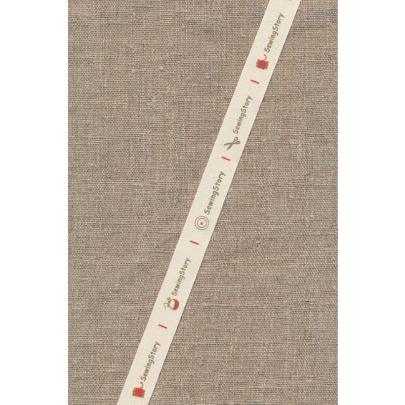 5 meter Bånd i bomuld i offwhite med Sewing Story