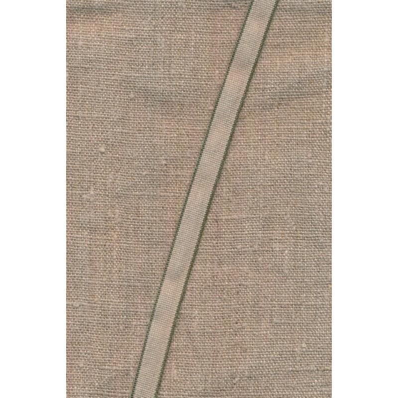 Hør bånd med army-grøn kant, 10 mm.