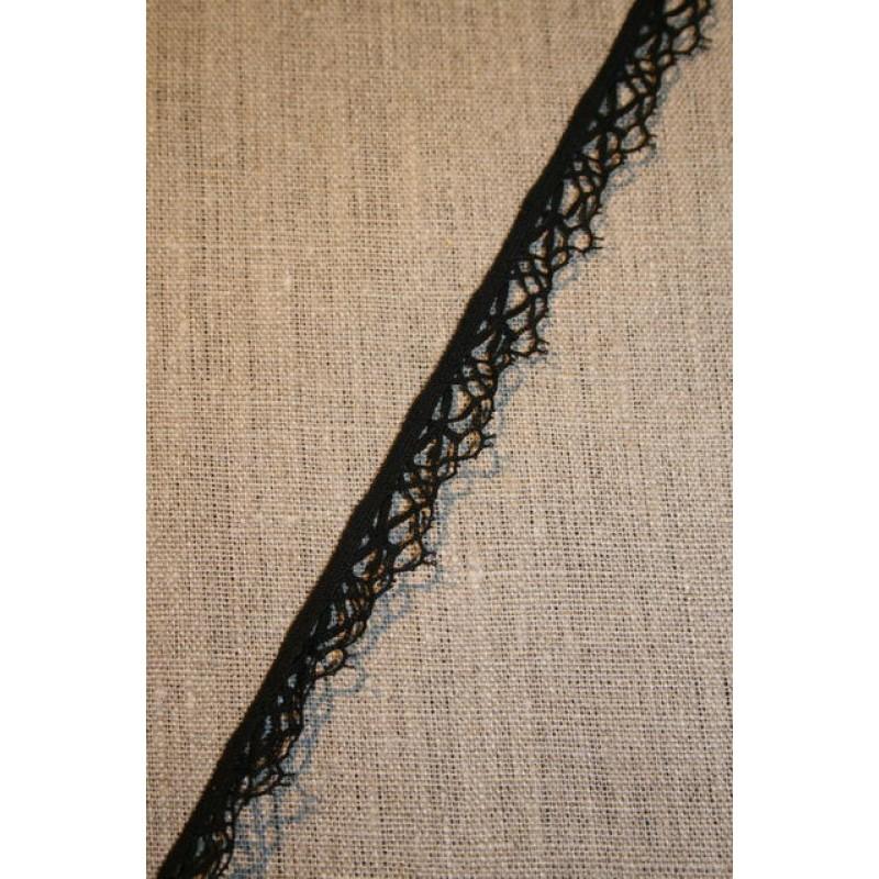 Rest Elastisk spindelvævs-blonde, sort- 210 cm.