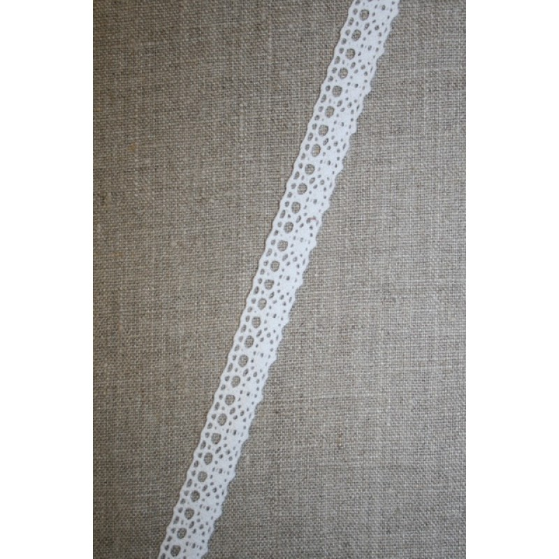 2 meter Bomulds-blonde 15 mm. hvid