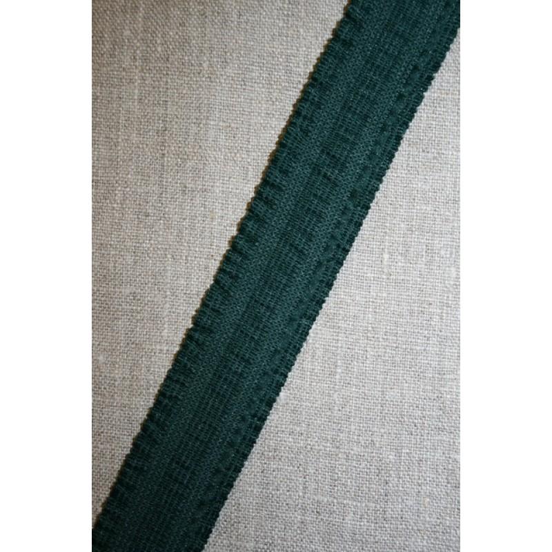 Rest Elastik med flæse-kant, flaskegrøn 30 mm.- 75 cm.