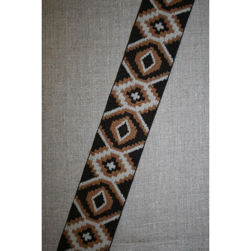 Elastik 50 mm. med rude-mønster mørkebrun lysebrun-35