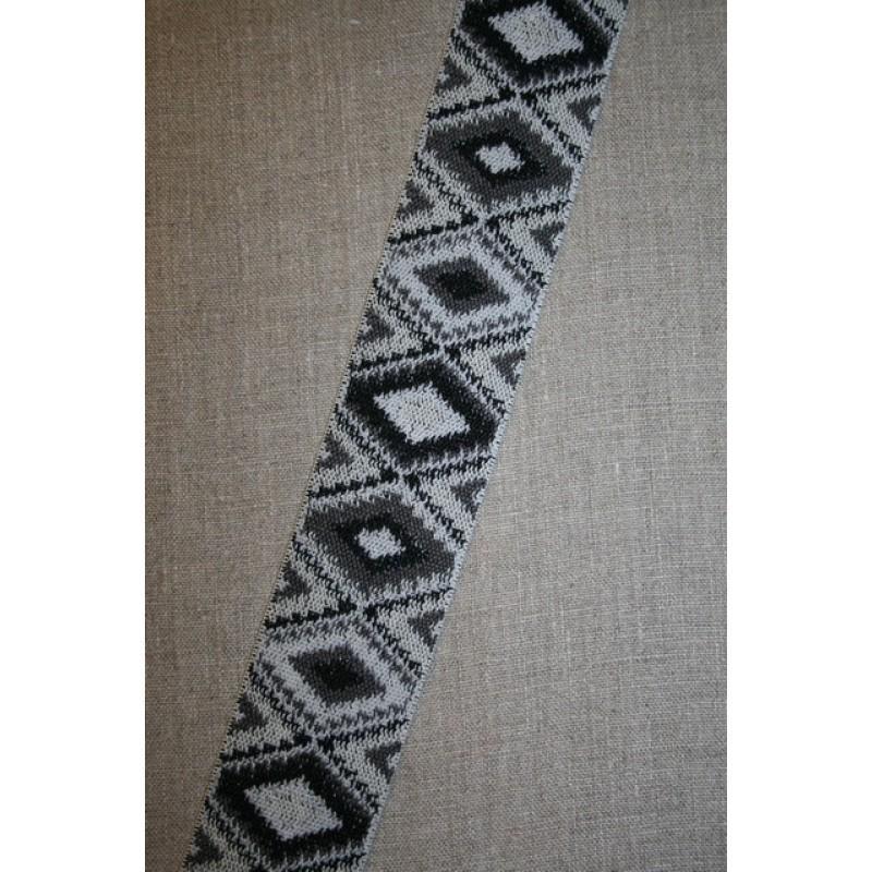 Elastik 50 mm. med rude-mønster sort grå lysegrå-31