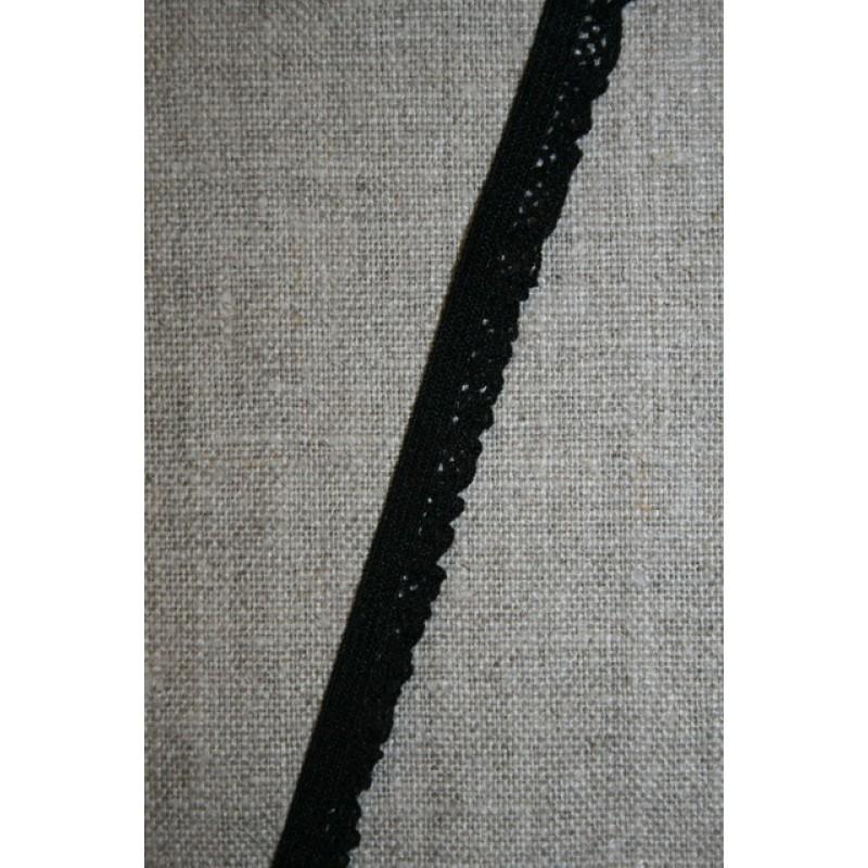Kantelastik med flæsekant, sort