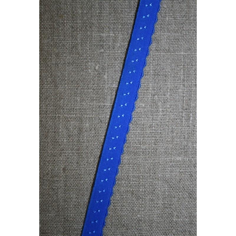 Foldeelastik med buet kant og prik, kobolt blå-35