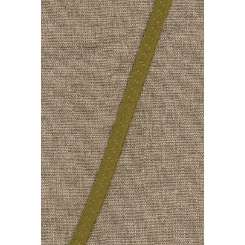 Foldeelastik med buet kant og prik, oliven