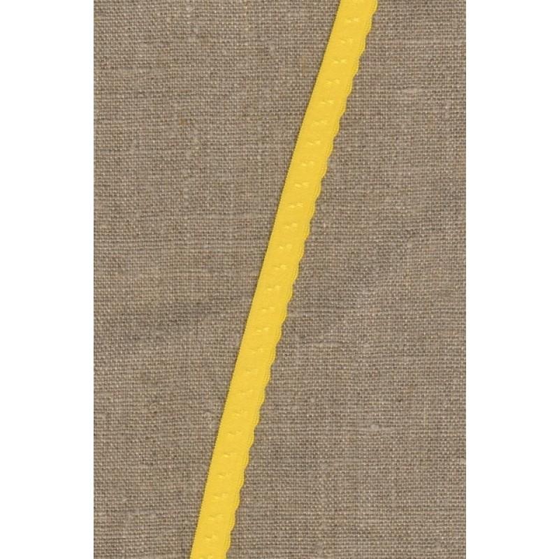 Foldeelastik med buet kant og prik, gul-310