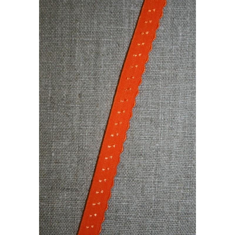 Foldeelastik med buet kant/prik, orange-33