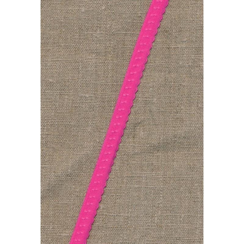 Foldeelastik med buet kant/prik, pink-35