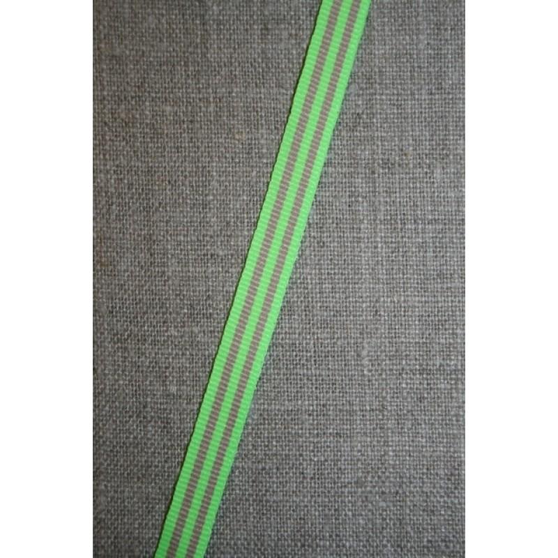 Grosgrainbånd stribet neon lime/beige 9 mm.-31
