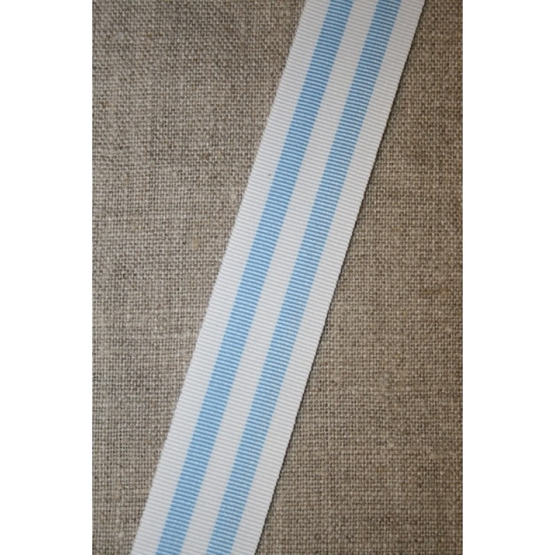 Bånd grosgrain stribet lyseblå hvid
