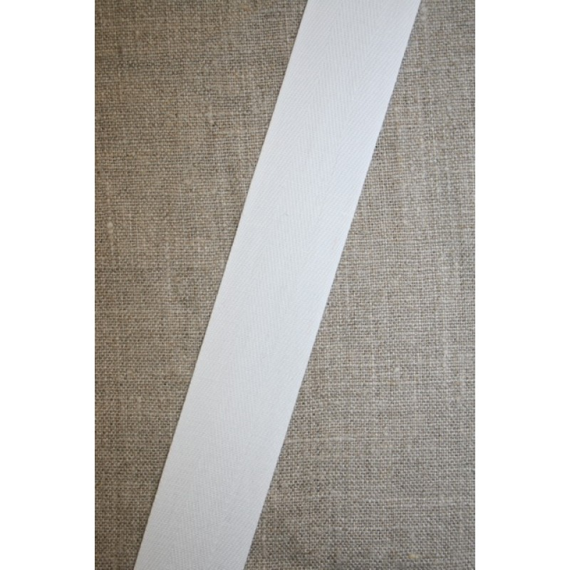 Bomuldsbånd/Gjordbånd hvid, 30 mm.