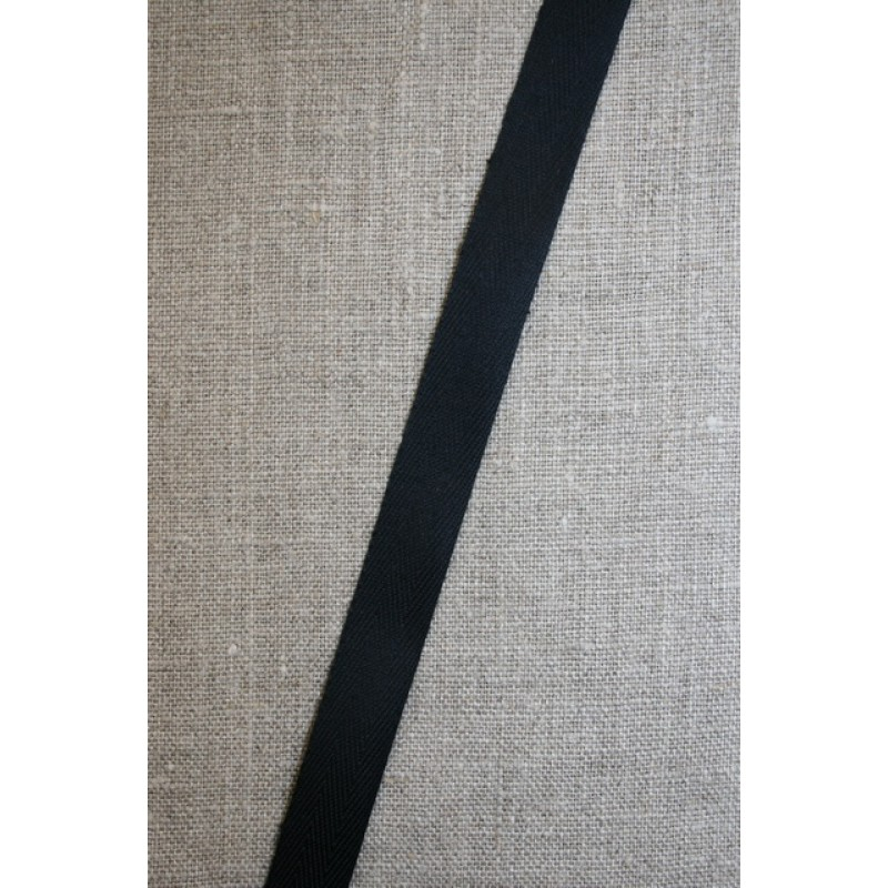 Bomuldsbånd/Gjordbånd sort, 15 mm.-35