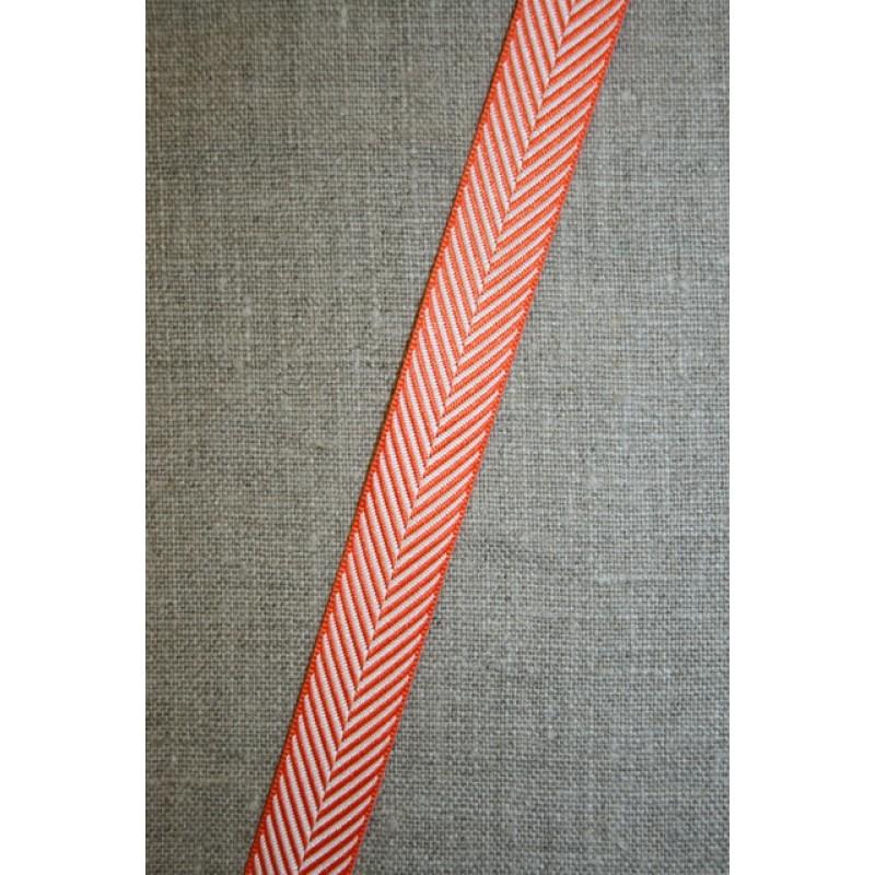 Grosgrainbånd med sildeben orange og hvid-33