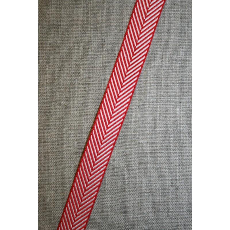 Grosgrainbånd med sildeben rød og hvid-33