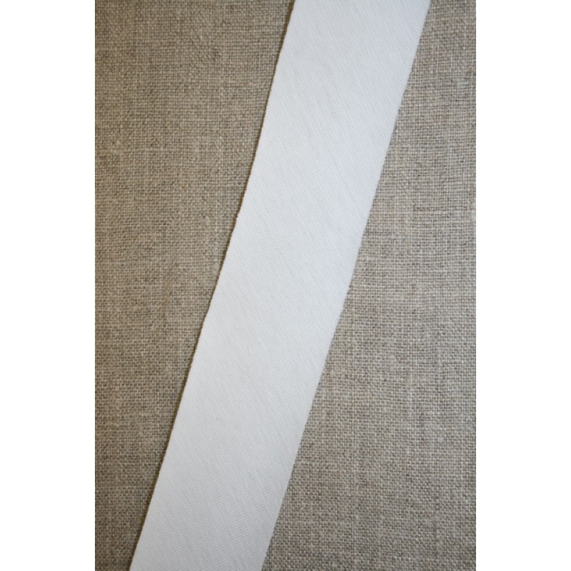 Jersey skråbånd i hvid