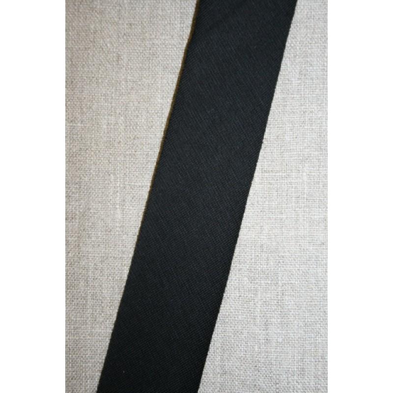 Kantbånd skråbånd i jersey, sort