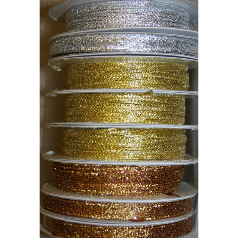 10 meter rulle Lamebånd 3 mm. sølv gl. guld kobber-35