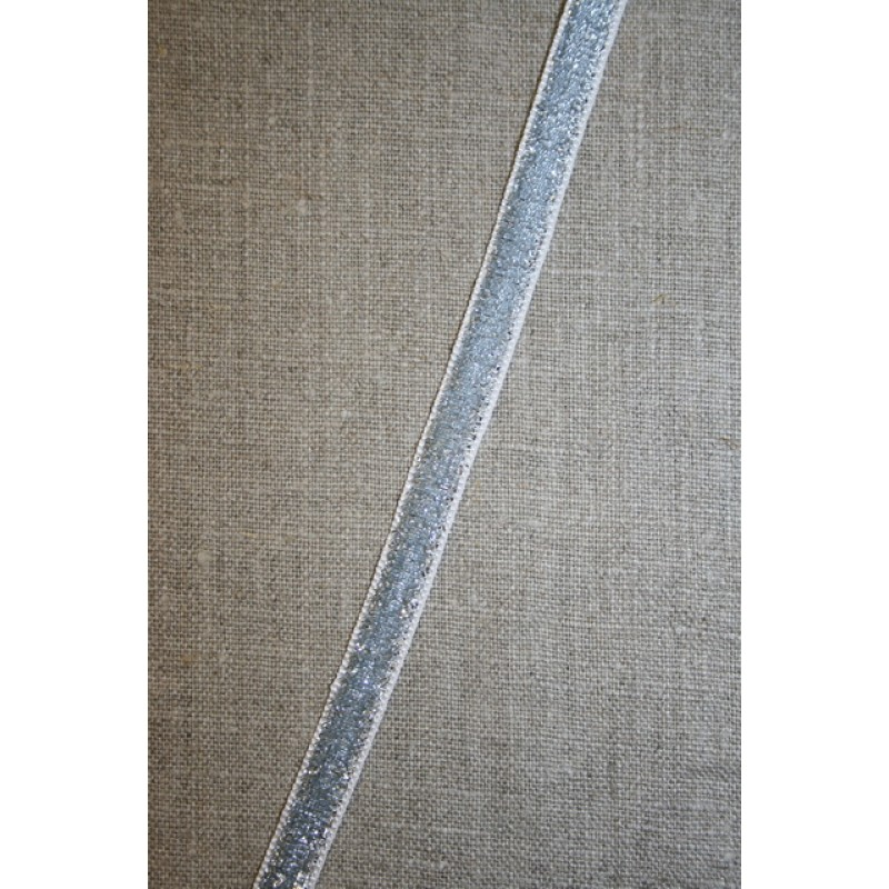 Velourbånd med glimmer-lurex, sølv-35