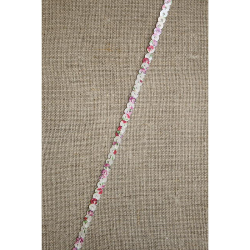 Hvid palietbånd med blomster 3 mm.-31