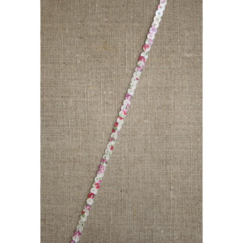 Hvid palietbånd med blomster 3 mm.