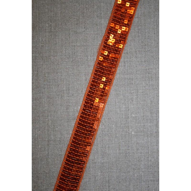 Bånd med palietter 24 mm. orange