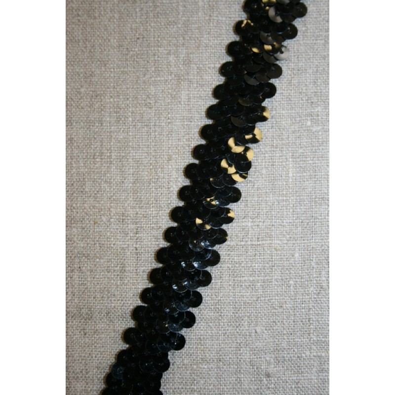 Rest Elastisk pallietbånd 20 mm. sort- 185 cm.