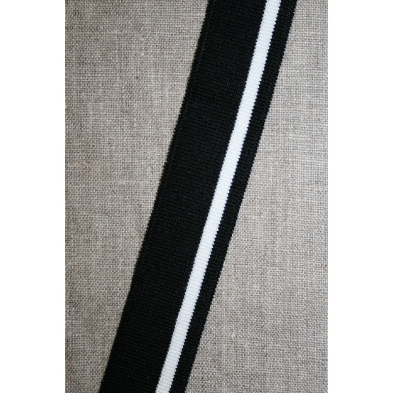 Ribkant stribet sort og hvid 30 mm x 110 cm.-32
