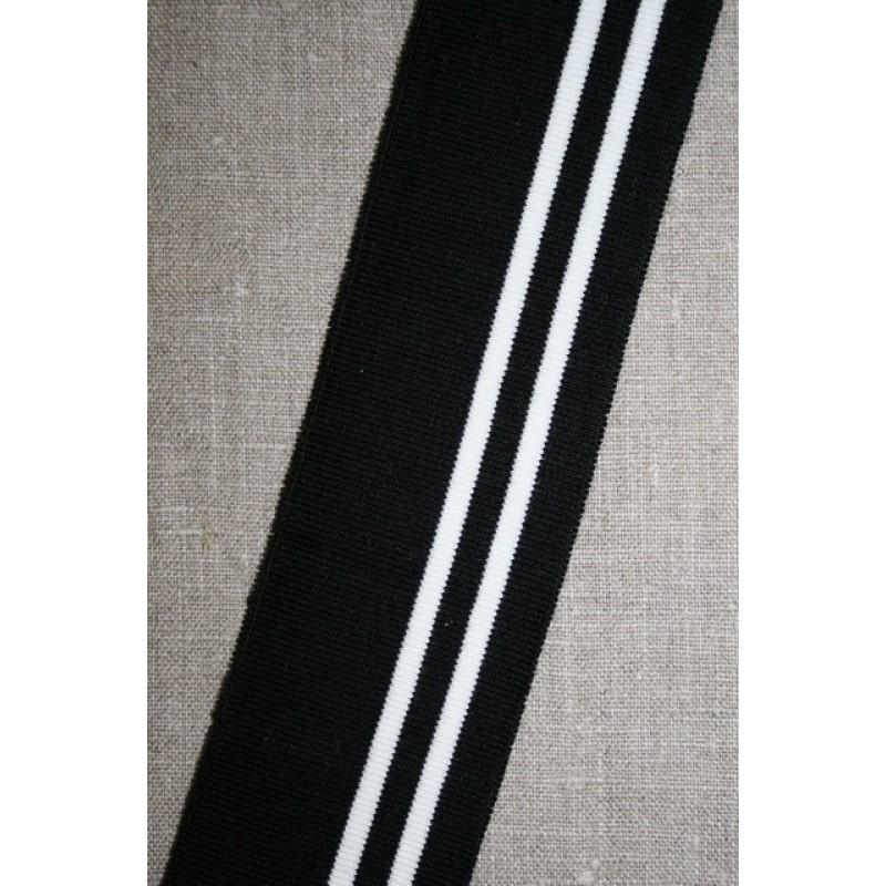 Ribkant stribet sort og hvid 50 mm x 100 cm.-33