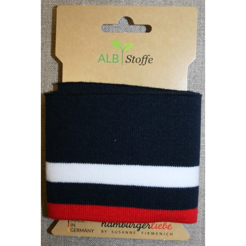 Ribkant stribet mørkeblå, hvid og rød 70 mm x 110 cm.-312