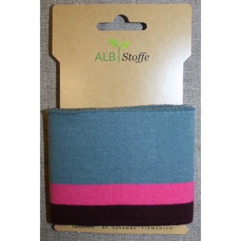 Ribkant stribet støvet blå, pink og bordeaux 70 mm x 110 cm.-314