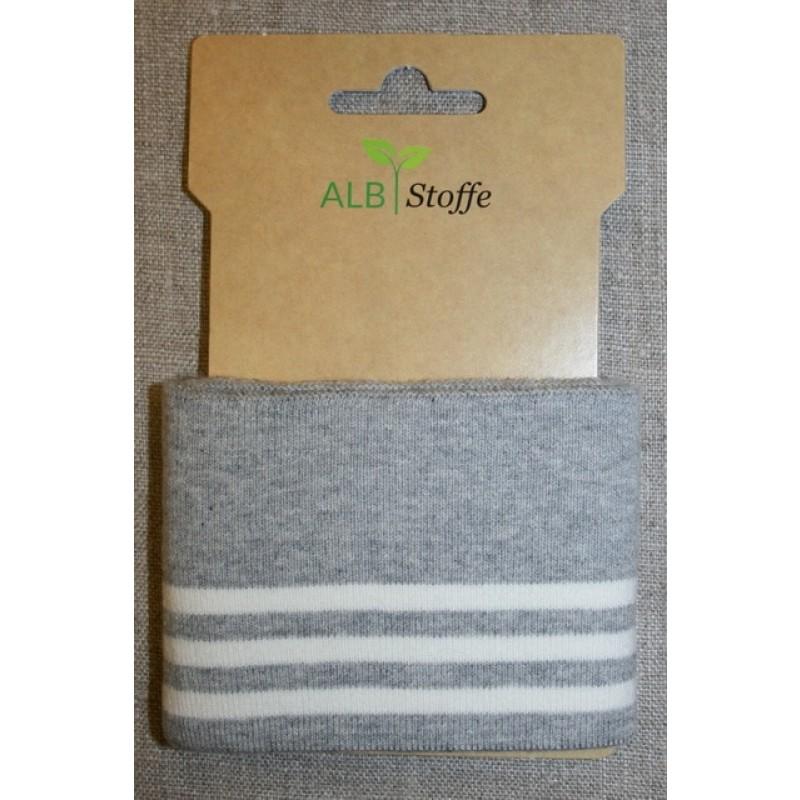 Ribkant college striber lysegrå off-white 70 mm x 110 cm.-311