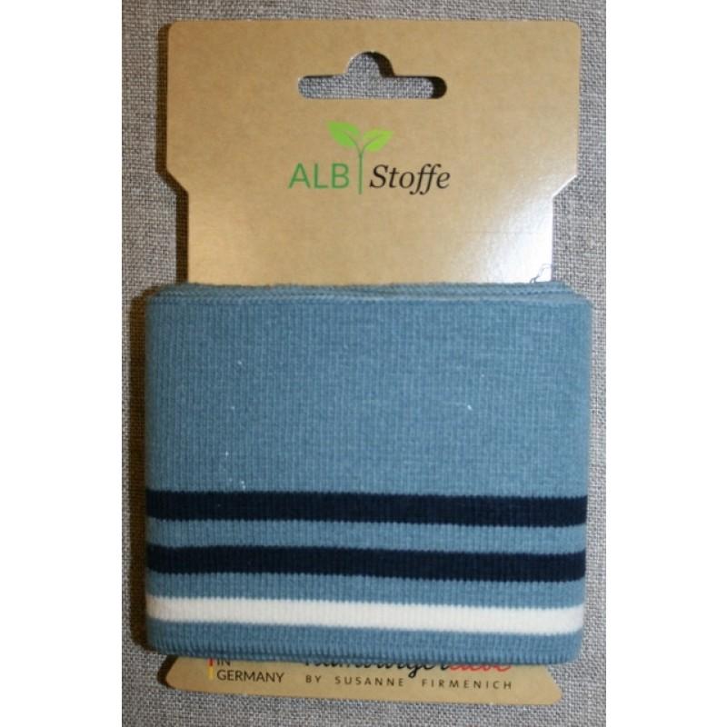 Ribkant college striber støvet blå, mørkeblå og off-white 70 mm x 110 cm.-312