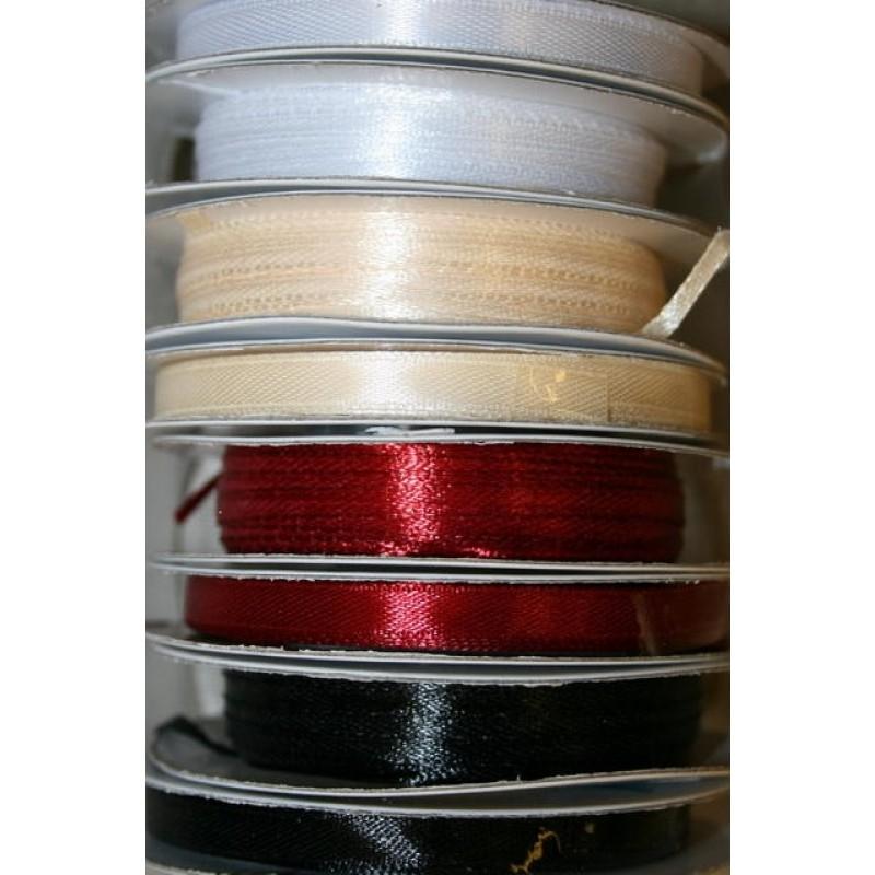 10 meter rulle satinbånd 6 mm. hvid/sort/mørkerød/off-white