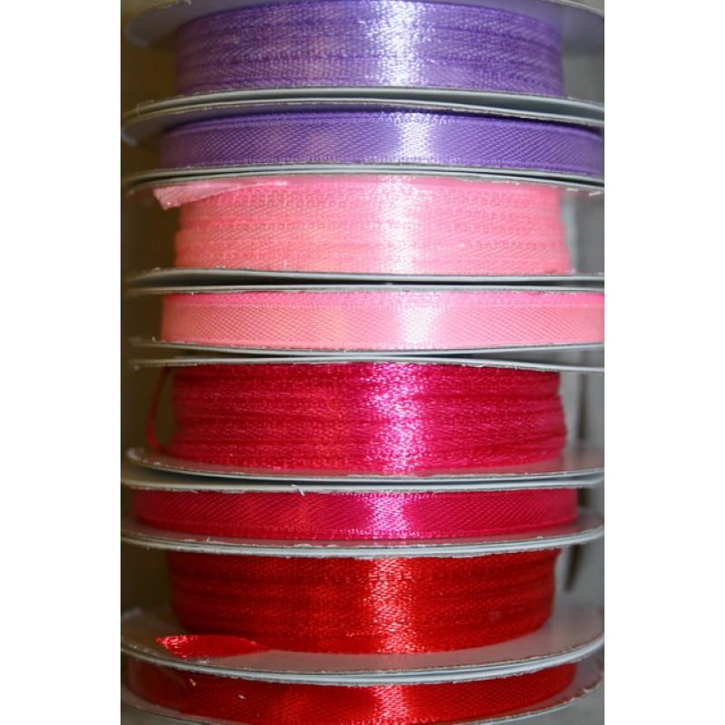 10 meter rulle satinbånd 3 mm. lyselilla lyserød pink rød-35