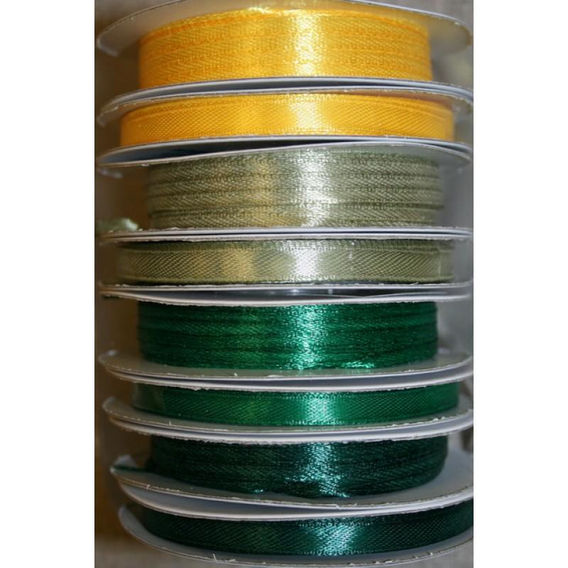 10 meter rulle satinbånd 3 mm. gul støvet grøn græsgrøn-33