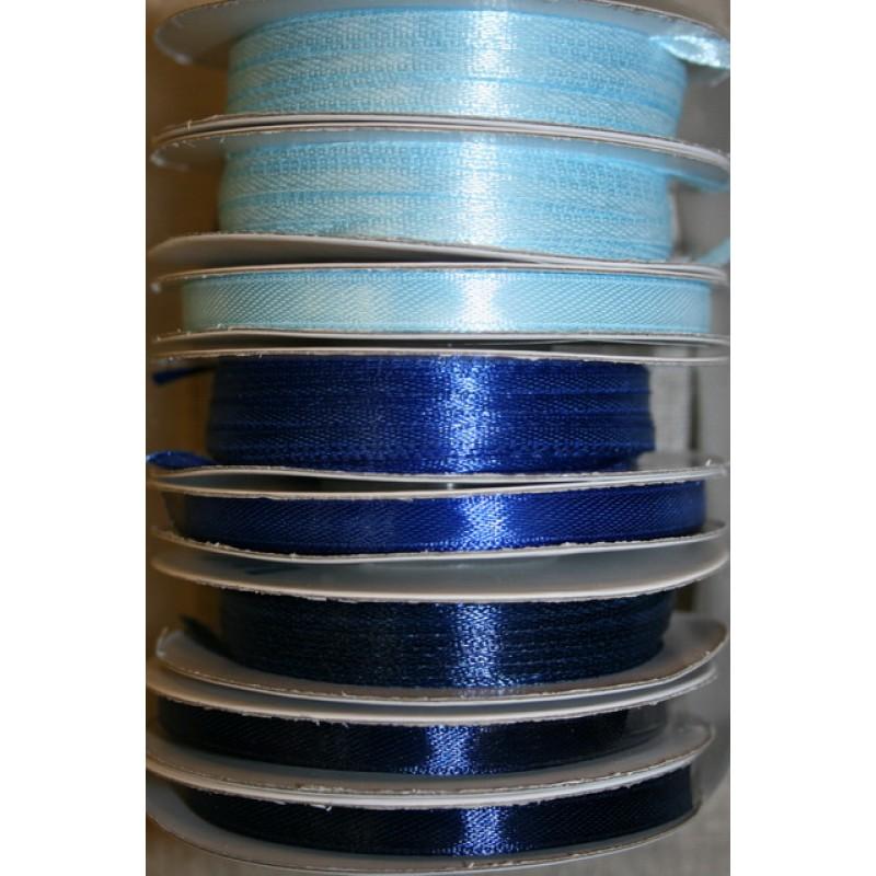 10 meter rulle satinbånd 3 mm. babylyseblå - klar blå - mørkeblå