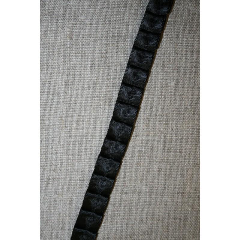 Satin-bånd med læg, sort-31