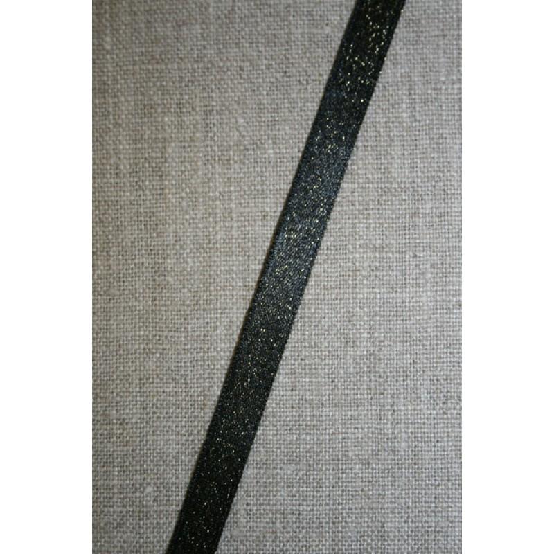 Blankt bånd sort med guld-nister, 10 mm.-35
