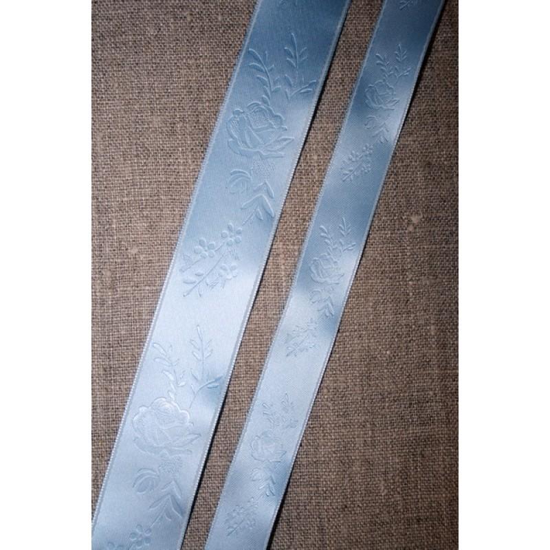 Satinbånd m/roser babylyseblå 16+25 mm.-35