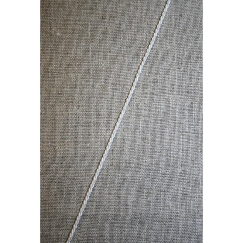 Silkesnor - snoet satinbånd, hvid