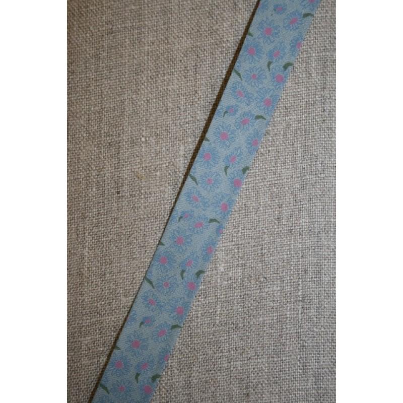 Støvet blå skråbånd m/blomster