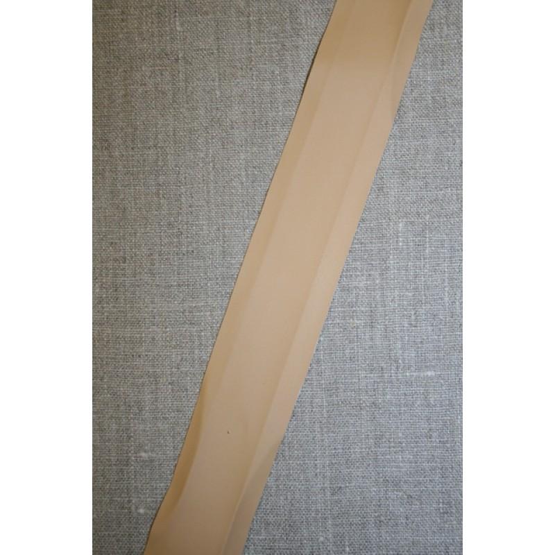 Skråbånd imiteret læder, beige