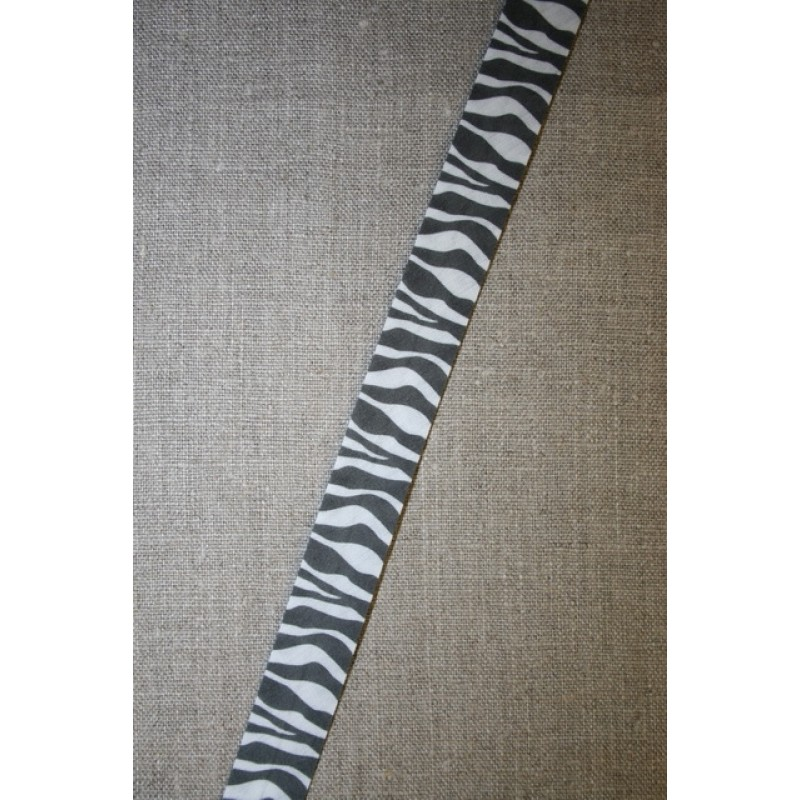 Skråbånd m/dyreprint, zebra