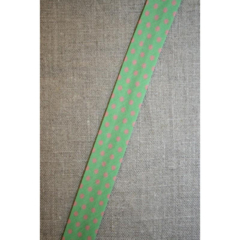 Skråbånd m/prikker lime/lyserød-35