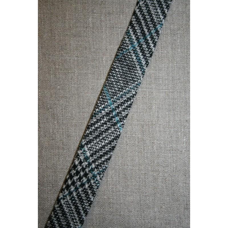 Rest Skråbånd i tweed, sort/hvid/petrol- 85 cm.